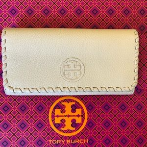 Tory Burch Blush Pink Pebbled Leather Wallet
